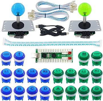 Sj Jx 2 Player Arcade Game Diy Kit Led Button Zero Delay Usb Encoder 2 Player Mechanical Keyboard Switch Arcade Joystick Controller Pc Raspberry Pi 2 3 Spielzeug