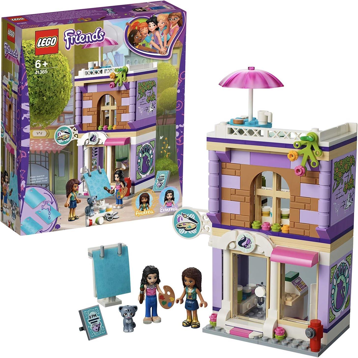 LEGO Heartlake Estudio Artístico de Emma, juguete creativo para construir edificio, incluye minipersonajes y figura de mascota, multicolor (41365)