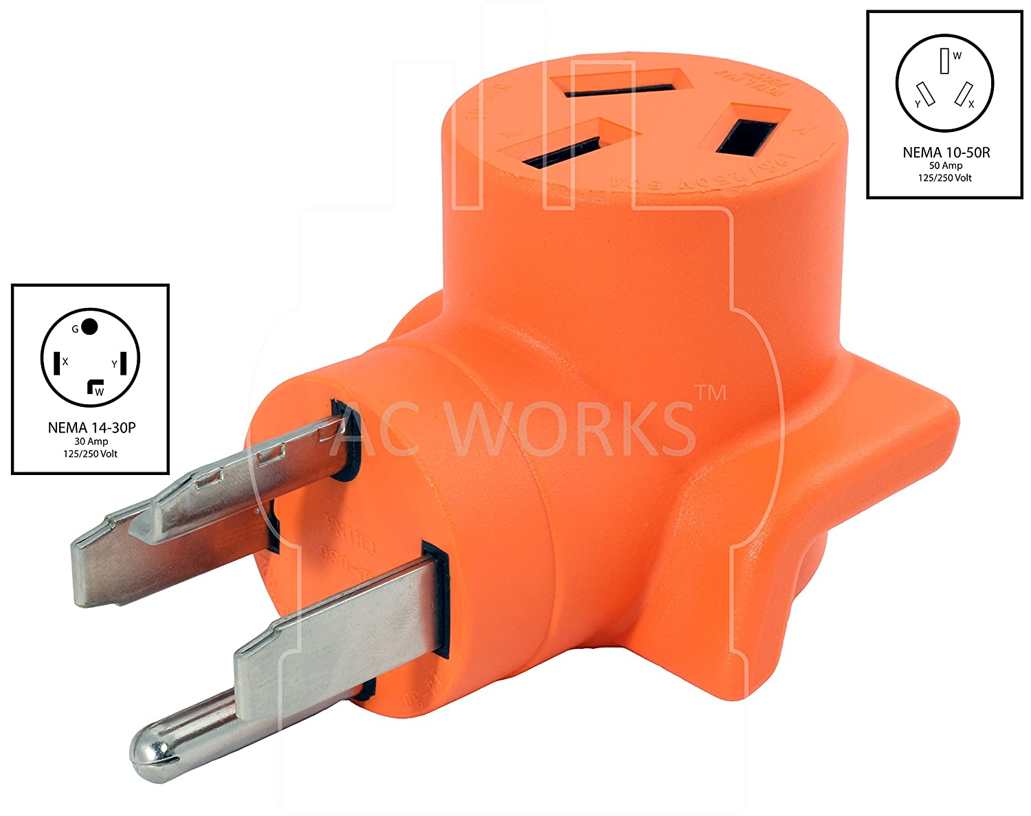 WD14301050 AC WORKS 30Amp 4-Prong 14-30P Dryer Plug to 10-50R 50Amp 125//250V Welder adapter AC Connectors