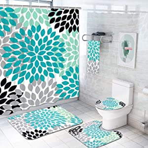 5 Pcs Dahlia Pinnata Shower Curtain Sets with Rugs and Towels, Include Non-Slip Rug, Toilet Lid Cover, Bath Mat and 12 Hooks, Antique Colorful Flower Shower Curtain Waterproof Bath Curtain
