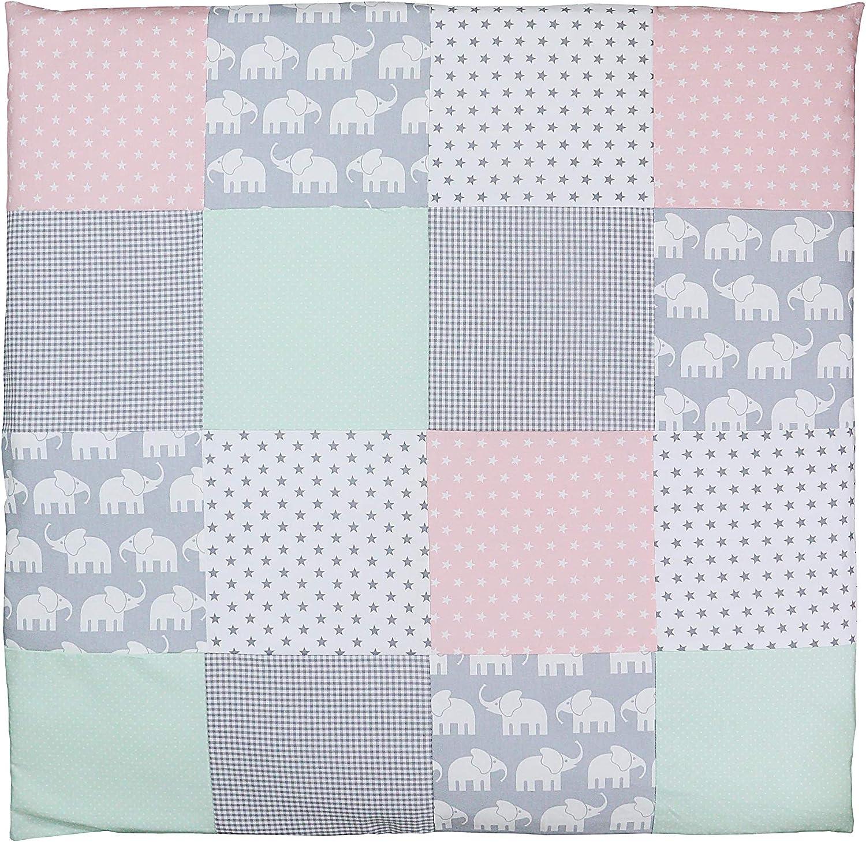 Conjunto de ropa de cuna de ULLENBOOM /® con elefantes menta rosa juego de 2 piezas para cuna: funda de almohada de 35/x/40 cm y funda n/órdica de 80/x/80 cm