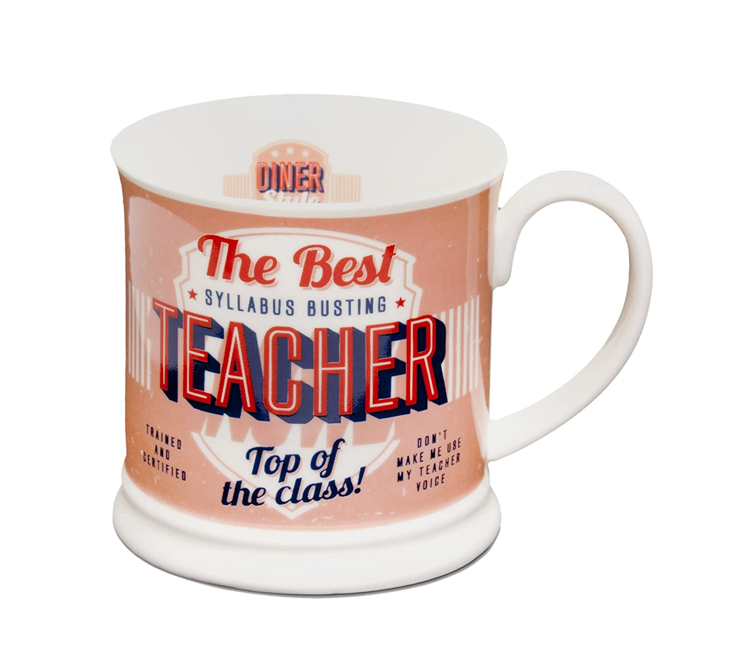 a06ded0c0af H&H Diner Style Mugs - Personalised Mugs - TEACHER: Amazon.co.uk: Kitchen &  Home