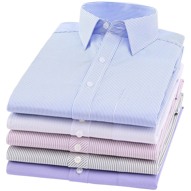 Men Dress Shirt Long Sleeve Slim Man Shirts Solid Male Clothing Fit Business Shirts