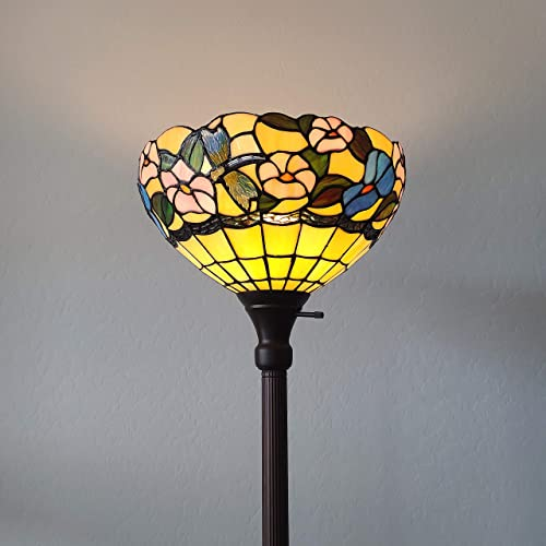 Amora Lighting Tiffany Style Floor Lamp 70″ Tall Torchiere Torch Standing Dragonfly Stained Glass White Blue Floral Flower Antique Vintage Light Bedroom Living Room Reading Gift AM023FL14B