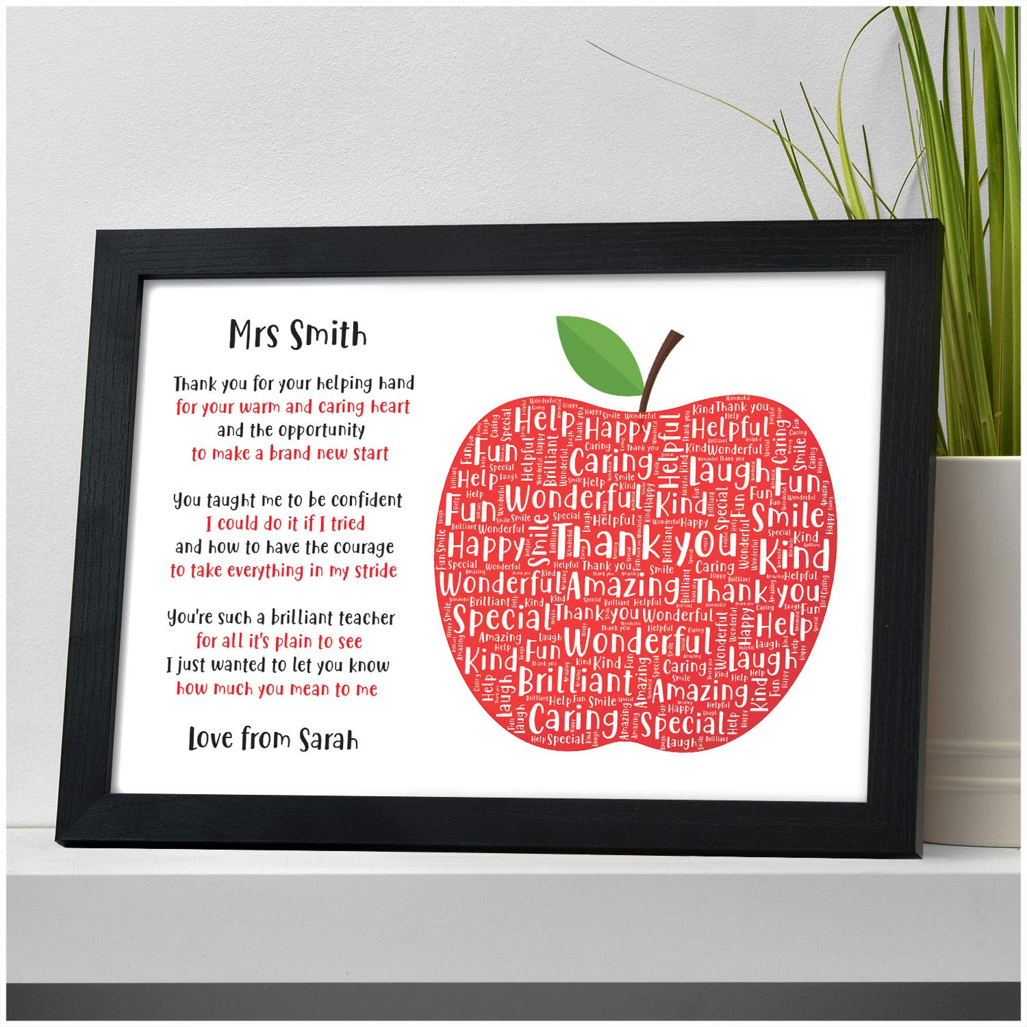 thank a teacher crafts Personalised mdf apple