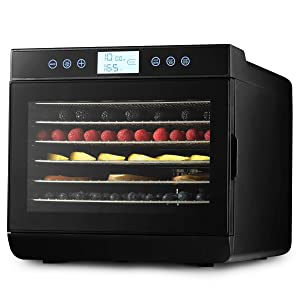 MAGIC MILL Professional Food Dehydrator Machine, 7 Stainless Steel Racks, Multi-Tier Food Preserver, Digital Control 2 Fruit Leather Trays, 2 Fine Mesh Sheets, 1 Set Ovens Mitts (7 SS Trays)