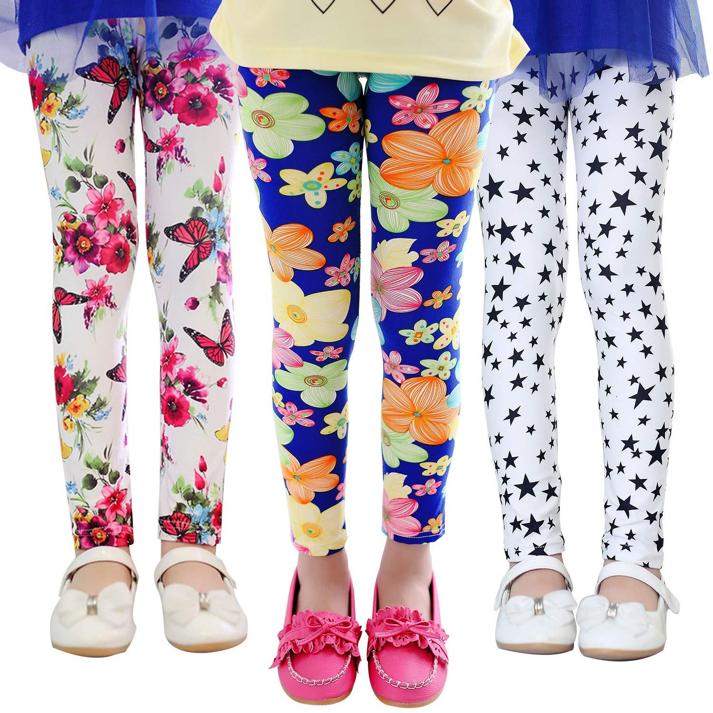 d56f18be896b3 Gellwhu 3-Pack Girl Pants Printing Flower Toddler Kids Classic Leggings  2-13Y product
