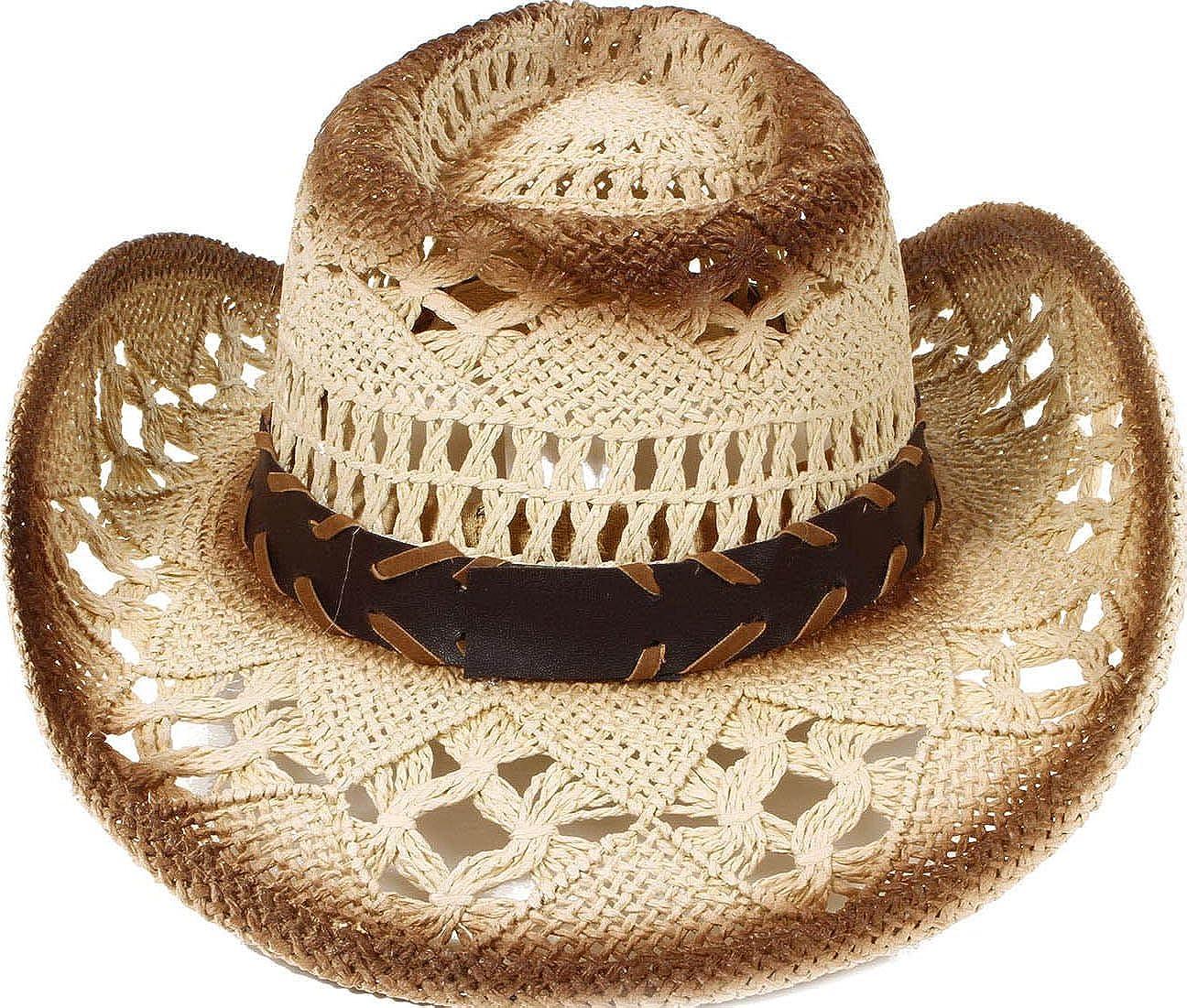 AbbyLexi Men /& Womens Western PU Leather Band Cowgirl Cowboy Straw Hat
