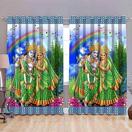 HSR Collection Digital Printed God Radha Krishna Multicolour Whiteout  Eyelet 1 Piece Door Curtain - 7 Feet