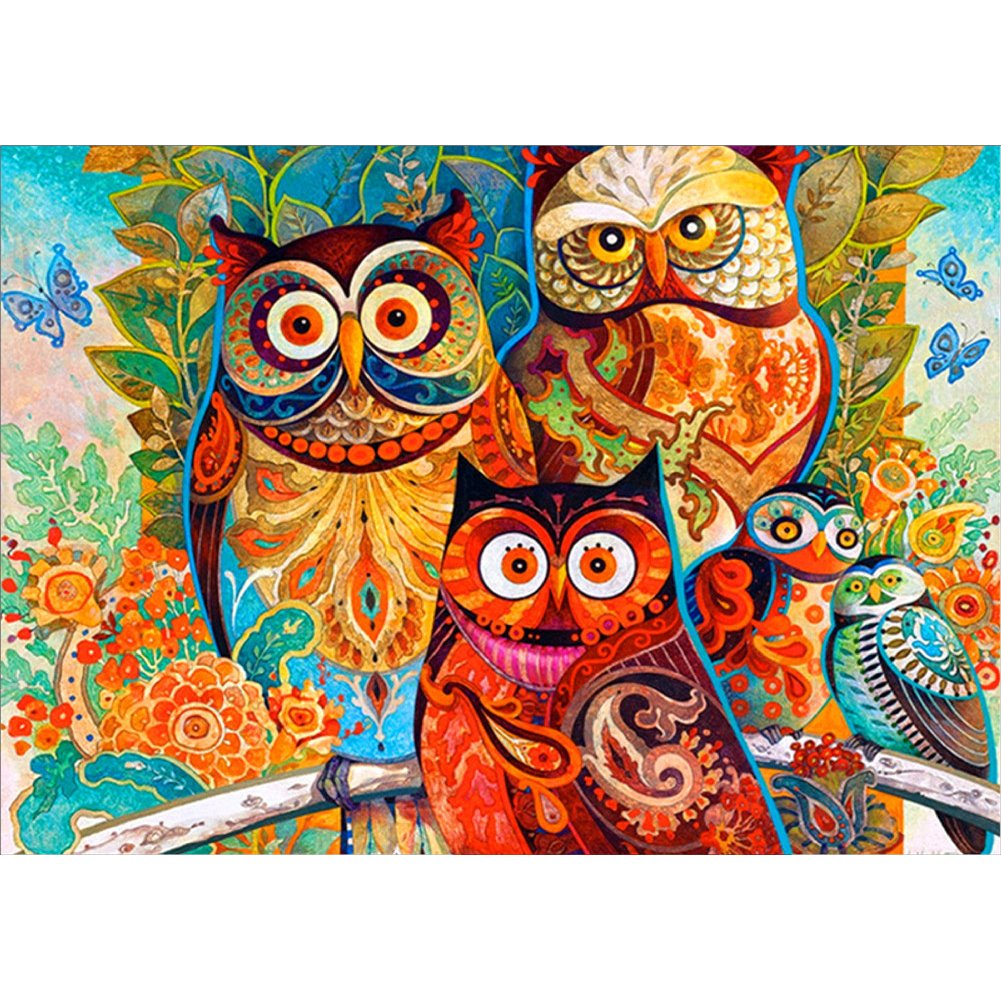 Thiningstars 5D Cute Animal Night Owl Diamond Painting Diamond Drawing Embroidery Cross Stitch Kit DIY Home Decoration