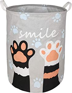 KUNRO Large Sized Storage Basket Waterproof Coating Organizer Bin Laundry Hamper for Nursery Clothes Toys (Paw)