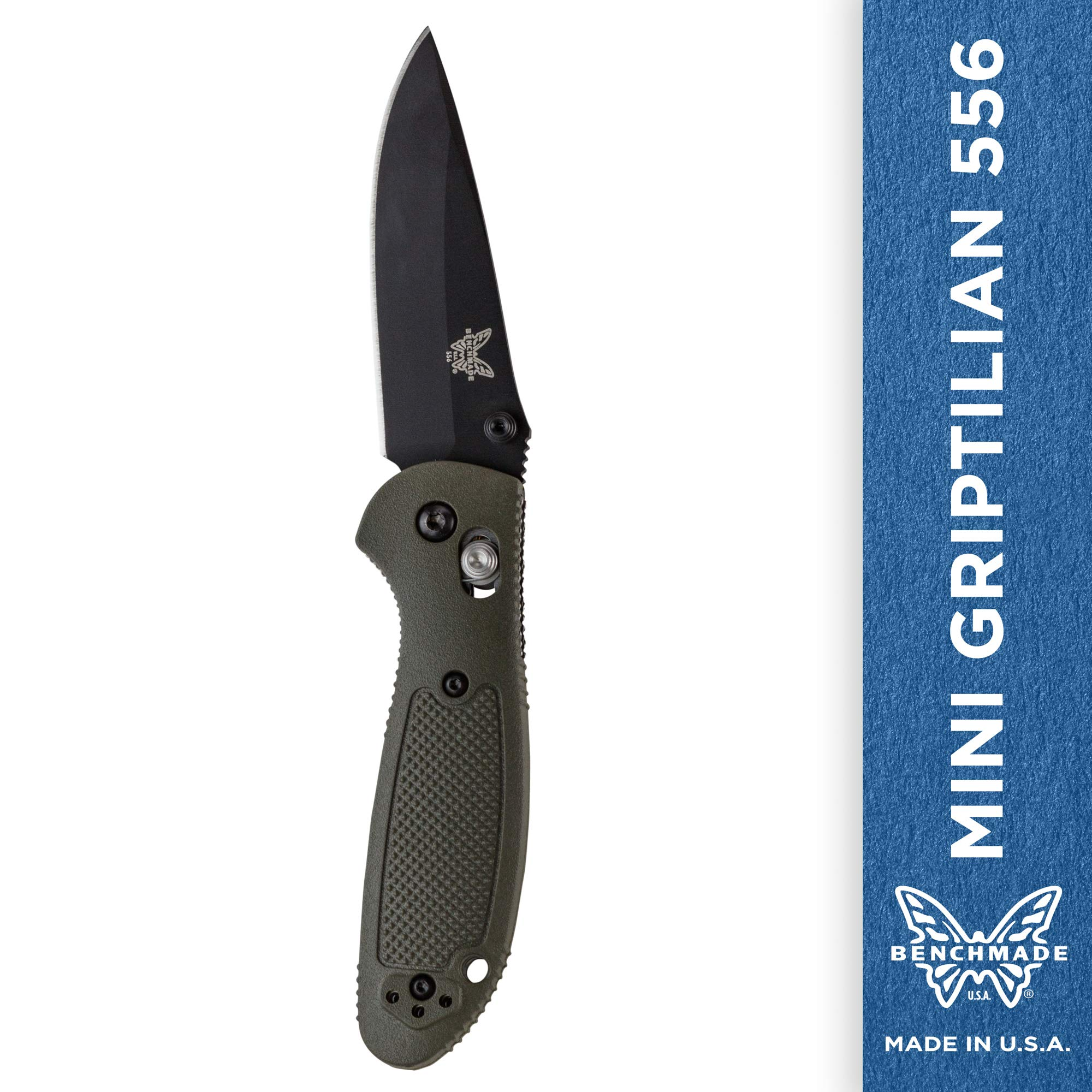 Benchmade - Mini Griptilian 556 EDC Manual Open Folding Knife Made in USA with CPM-S30V Steel, Drop-Point Blade, Plain Edge, Coated Finish, Olive Handle