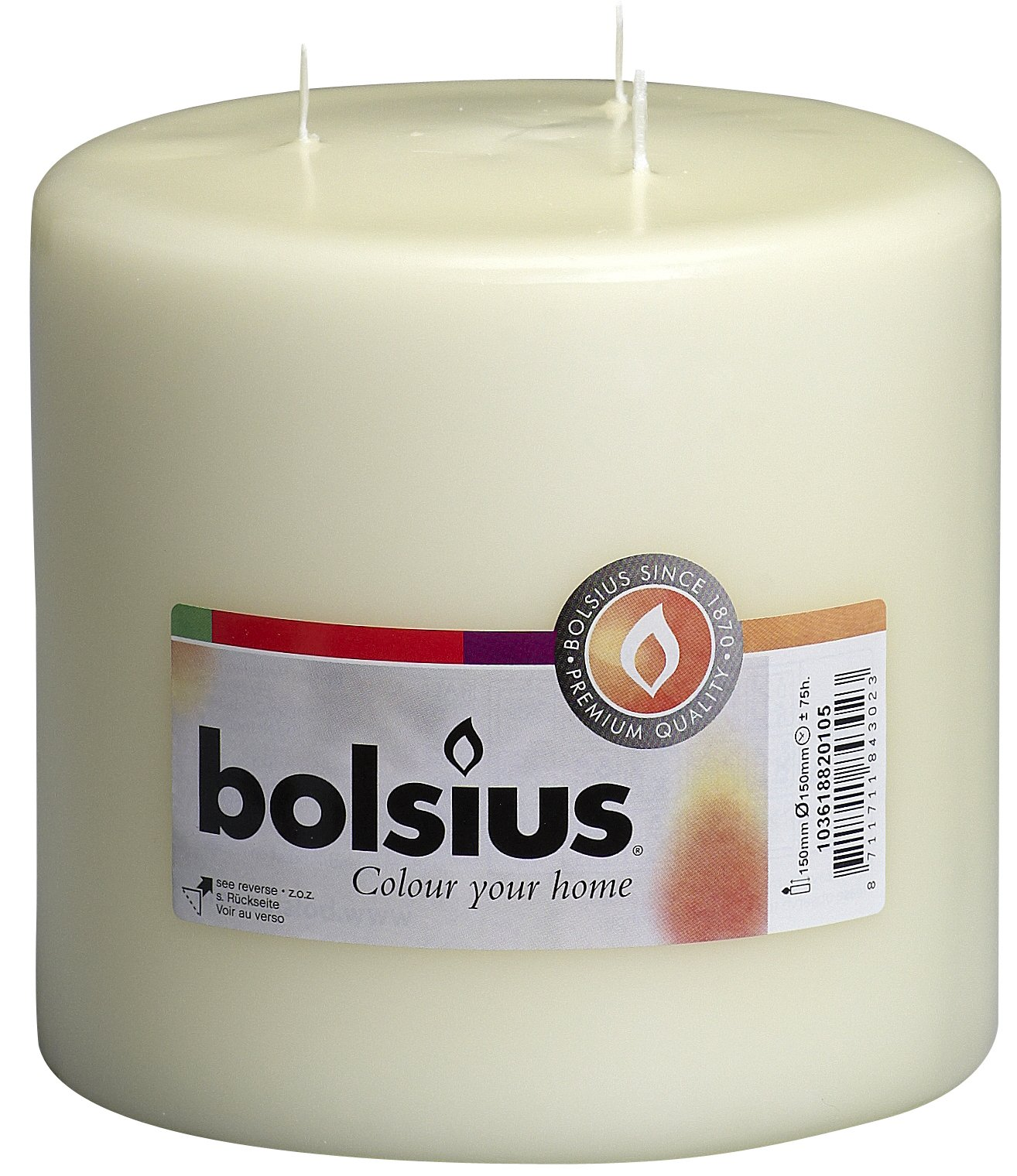 BOLSIUS Ivory Pillar Candles - 75 Long Burning Hours Candle Set - 6-inch x 6-inch Dripless Candle - Perfect for Wedding Candles, Parties and Special Occasions