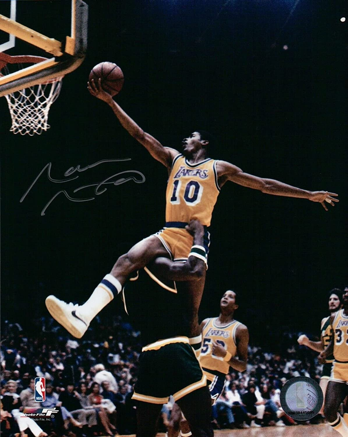 Norm Nixon Signed 8X10 Autograph Photo Lay-Up Silver Ink Lakers w/COA