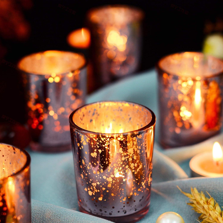 Candelabro de mercurio moteado Tealight Candelero Decoraci/ón de regalo para cumplea/ños Supreme Lights Candelabros de vidrio votivo conjunto de 12 Rojo Fiestar 2.2x2.6in