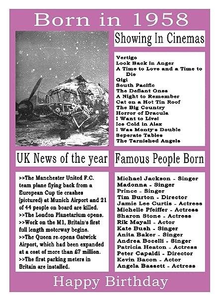 Nacido en 1958 cumpleaños tarjeta: Amazon.es: Oficina y ...