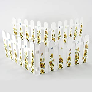 The Lakeside Collection Decorative Garden Edging and Landscaping Fence Set - Sunflowers - 4 Pieces
