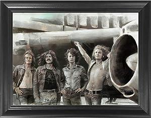 Led Zeppelin Classic Rock Band 3D Poster Wall Art Decor Framed Print | 14.5x18.5 | Lenticular Posters & Pictures | Memorabilia Gifts for Guys & Girls Bedroom | Jimmy Page, Robert Plant, John Bonham