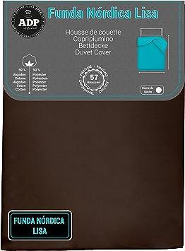 Imagen deADP Home - Funda nórdica Lisa, Calidad 144Hilos, 17 Hermosos Colores, Cama de 105 cm - Color: Chocolate