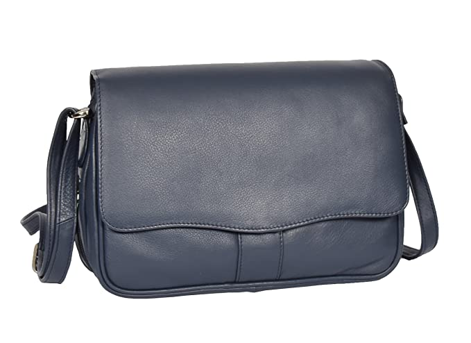 1f2fd6b3952 Ladies Real Leather Flap Over Organiser Cross Body Bag Satchel Messenger  Style HLG817 Blue: Amazon.co.uk: Clothing