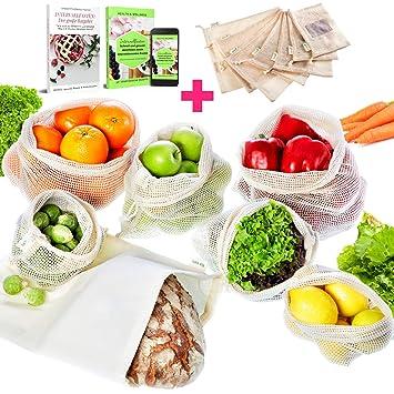 Set de 7 bolsas de fruta 100% algodón Bolsa de verdura Bolsa ...