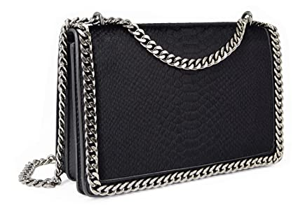 387afe0a8be6 CRAZYCHIC - Women s Chain Crossbody Bag - Chains Shoulder Strap Handbag -  Snake Quilted Python Padded