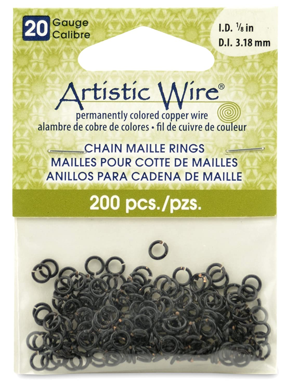 Artistic Wire Beadalon 1/8-inch 200 Pieces 20-Gauge Chain Maille Rings, Black A314-20-02-04