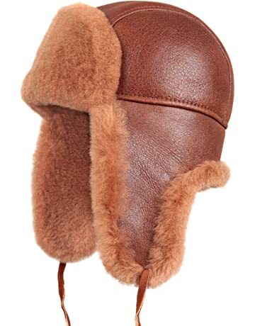 e444481036707 Zavelio Unisex Shearling Sheepskin Leather Aviator Russian Ushanka Trapper Winter  Fur Hat