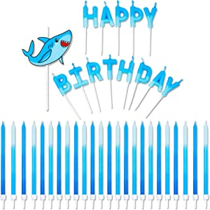 Blue Panda Shark Theme Happy Birthday Cake Topper with Long Thin Candles in Holders (5 in, 38 Pack)
