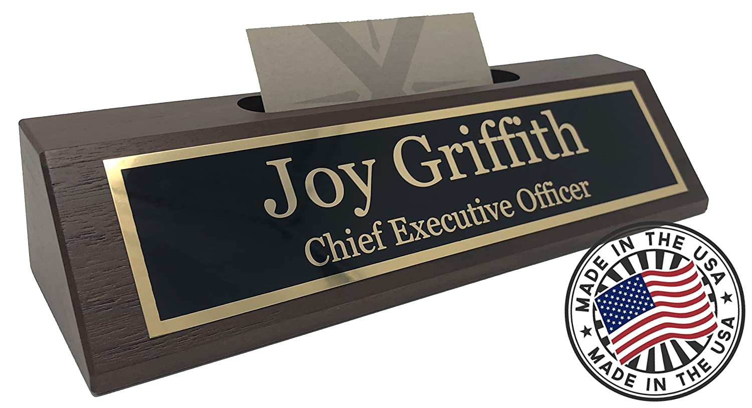 Amazon.com : Personalized Business Desk Name Plate with Card Holder ...
