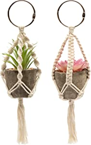 Ocean 5 Originals - Car Rear View Mirror Hanging Accessories - Set of 2 - Mini Faux Succulent Plant Decor with Boho Style Macrame Hanger Charms - Cute car Interior Decoration for Women and Teen Girls