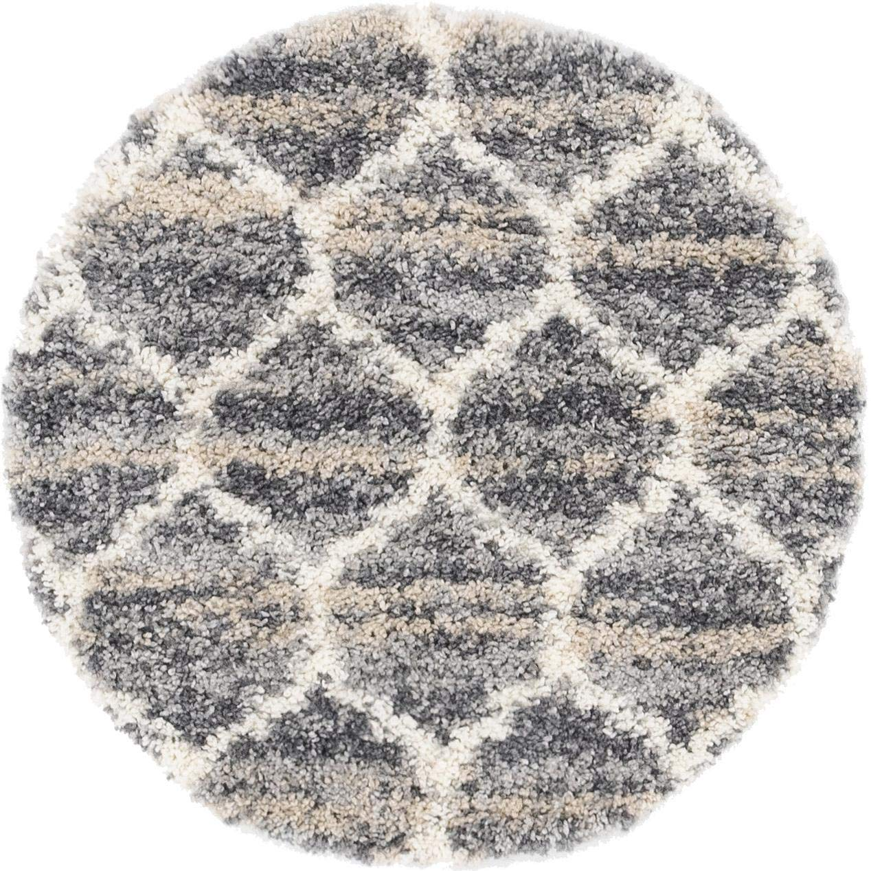 Unique Loom Hygge Shag Collection Lattice Trellis Plush Cozy Beige Round Rug 3 x 3