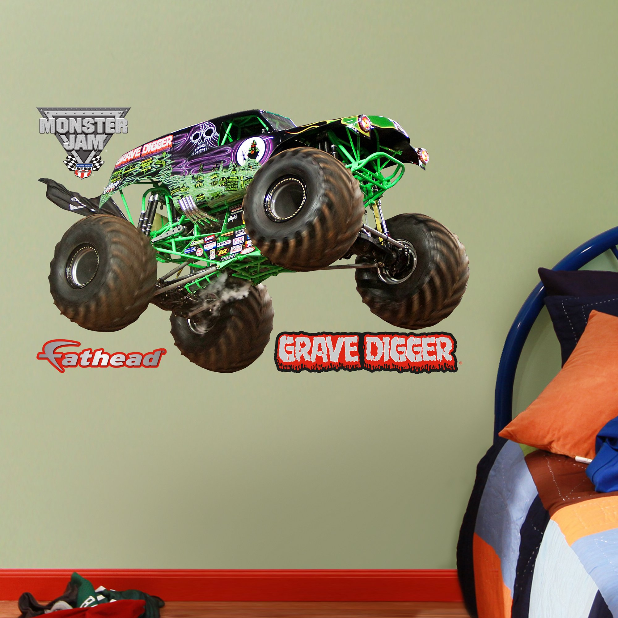 FATHEAD Grave Digger-X-Large Officially Licensed Monster Jam Removable Wall Decal by FATHEAD