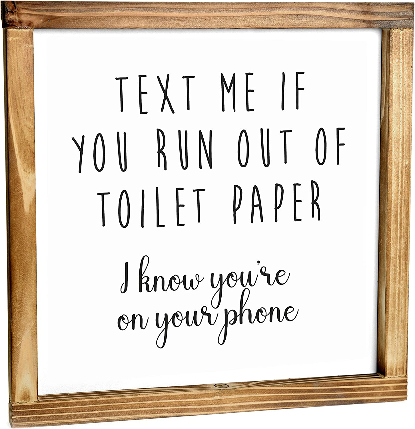 Text Me If You Run Out Of Toilet Paper Sign - Funny Farmhouse Decor Sign, Cute Guest Bathroom Decor Wall Art, Rustic Home Decor, Modern Farmhouse Sign for Bathroom Wall With Funny Quotes 12x12 Inch