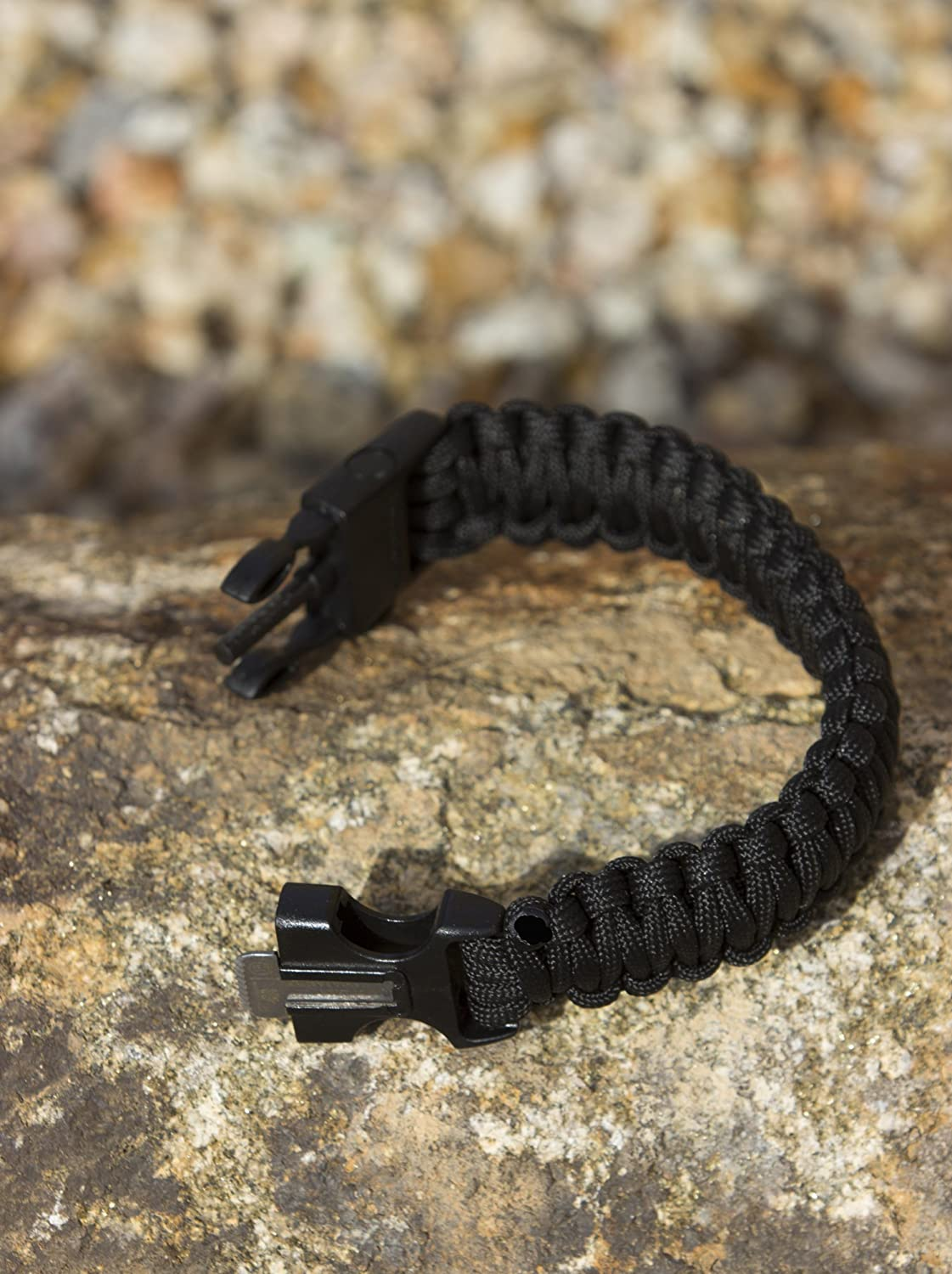 Includes Built-in Emergency Whistle /& Firestarter /& 100/% Guaranteed Best Black 550 Paracord Bracelet for Survival /& Camping Everyday We Carry