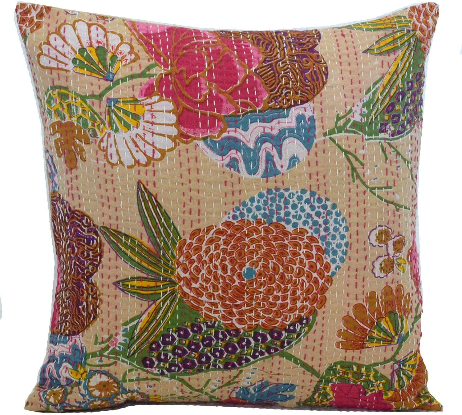 "16/"" BEIGE INDIAN PILLOW CUSHION COVER ETHNIC THROW KANTHA TRADITIONAL DECOR ART"