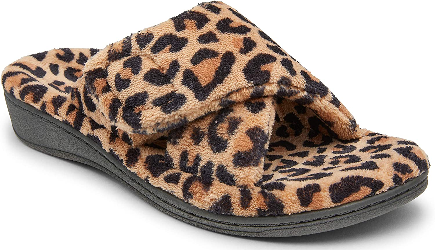 Vionic Women's Indulge Relax Slipper - Ladies Comfortable Cozy Adjustable House Slippers with Concealed Orthotic Arch Support Leopard Natural 10 Medium US