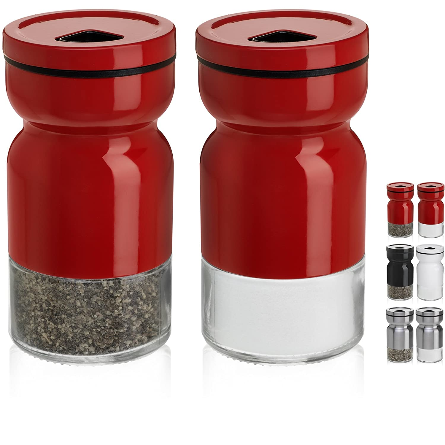 CHEFVANTAGE Salt and Pepper Shakers Set with Adjustable Pour Holes - Red MB Lifestyle S02-P16-V2