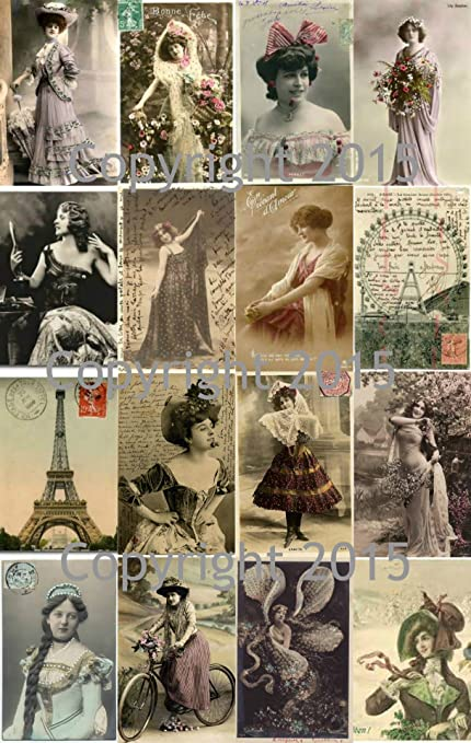 Scrapbooking Vintage Printed French Post Cards Collage Sheet #102 Labels Decoupage