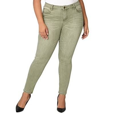 Avenue Women's Washed Skinny Jean in Olive