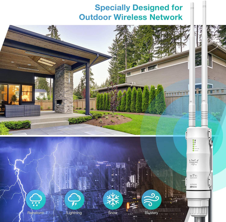 FLASHOWL Repetidor WiFi al Aire Libre Extensor de Alcance Wi-Fi AC600 Amplificador de se/ñal Wi-Fi Amplificador WiFi Resistente a la Intemperie 2.4G 5ghz Antenas de Alta Ganancia 600Mbps Puente WiFi