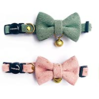 Cognatio Safety Quick Release Cat Collars, Soft Kitten Collars with Detachable Bow Tie and Bell, Pack of 2, Adjustable…