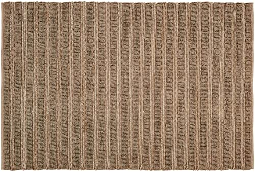 VHC Brands Natural Laila Farmhouse Solid Color Jute Rectangle Doormat Area Accent Rug Assorted Sizes Cotton Looped