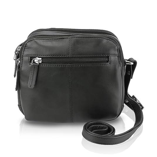bf57adc7b84f Visconti 18939 Womens Small Leather Shoulder   Crossbody Bag (Black)   Handbags  Amazon.com