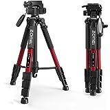 カメラ三脚、 Z666 コンパクト 軽量 トラベル 三脚 レバーロック パノラマ 3ウェイピンヘッド 簡単に調整 キヤノン、ニコン、ソニー、オリンパスのカメラDVに対応 キャリングケース付き (赤)