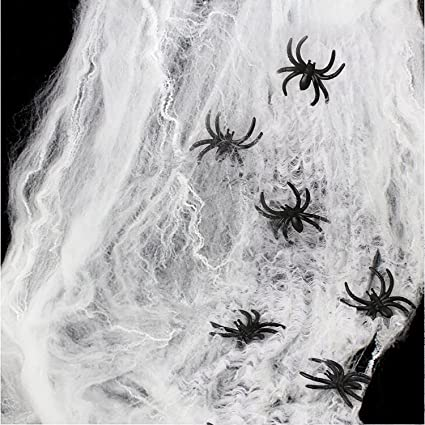 15 MINI COBWEBS /& 15 BLACK PLASTIC SPIDERS SPOOKY HALLOWEEN PROPS HOME DECOR NEW