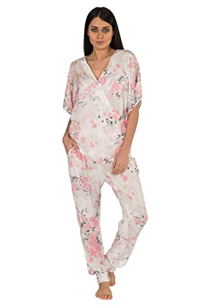 8f8f811e3cce1 Loomerie Pajama Set for Women Lightweight Soft Pink and White Cherry  Blossom Wrap Top and Tapered