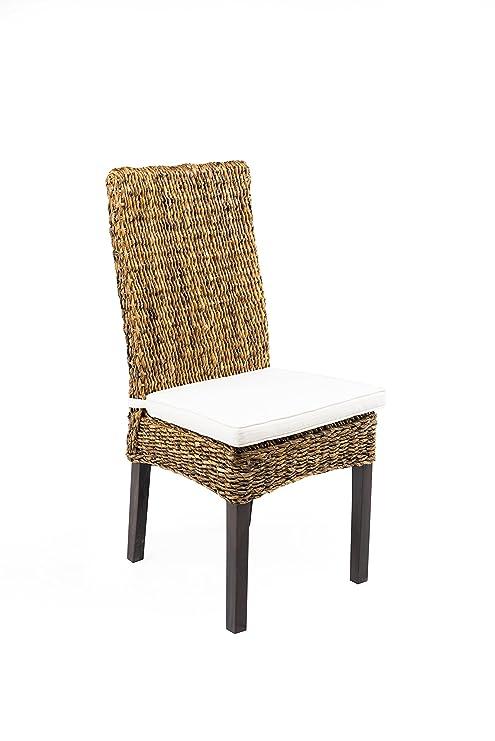 Silla trenzada de plátano estilo étnico, con cojín asiento ...