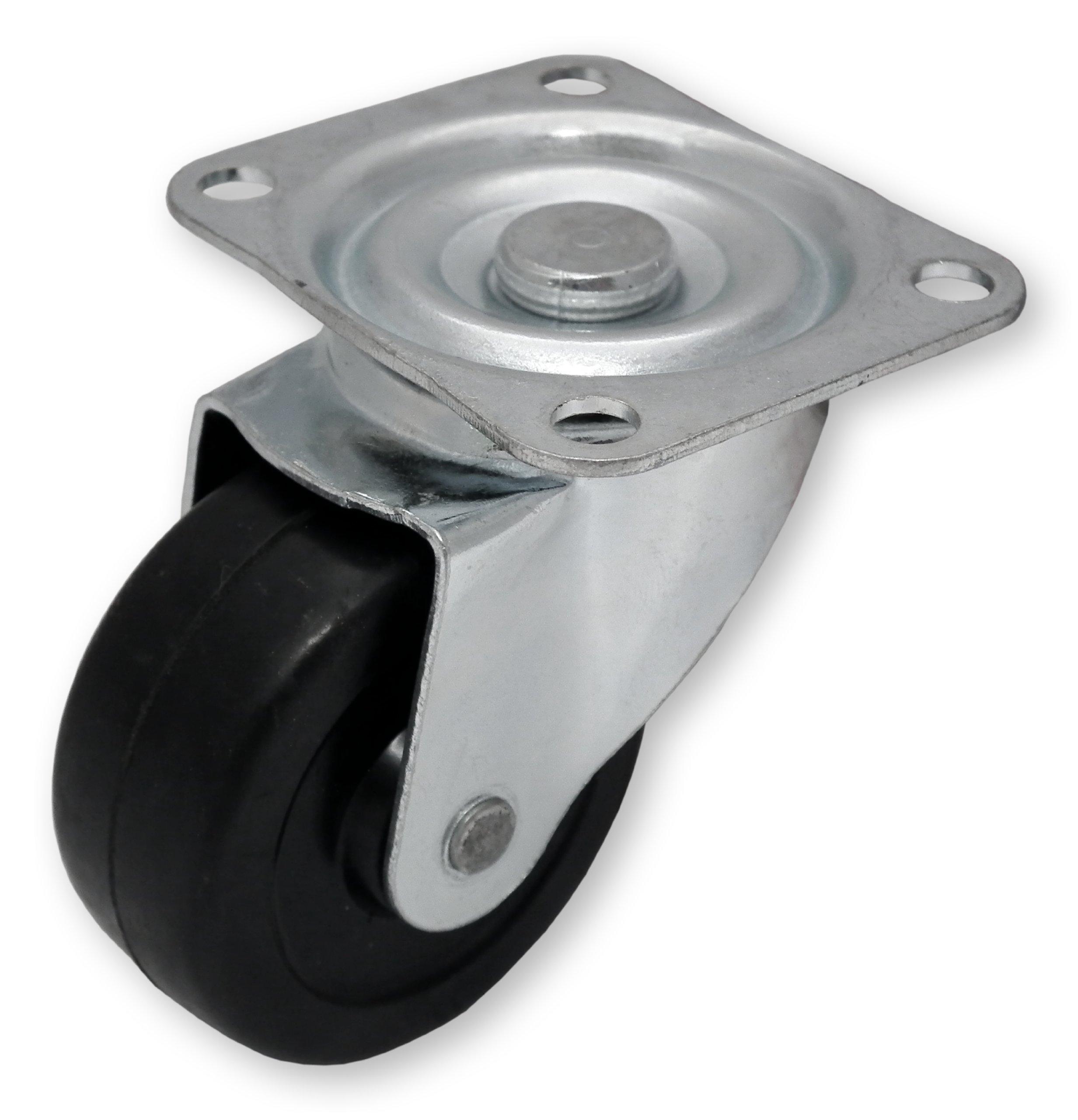 Castor Wheel Unbraked 40mm 38mm Stem Pin Fitting Black Push Fit Swivel Office Chair X10