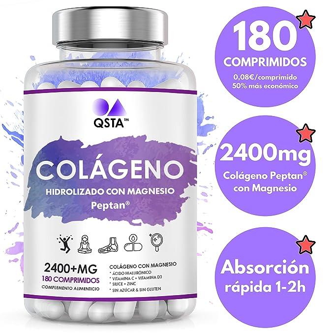 Colageno con Magnesio + Acido Hialuronico + Vitamina C + Vitamina D3 + Zinc | 180 Comprimidos - Hidrolizado Marino PEPTAN | Articulaciones, Huesos, Piel, ...